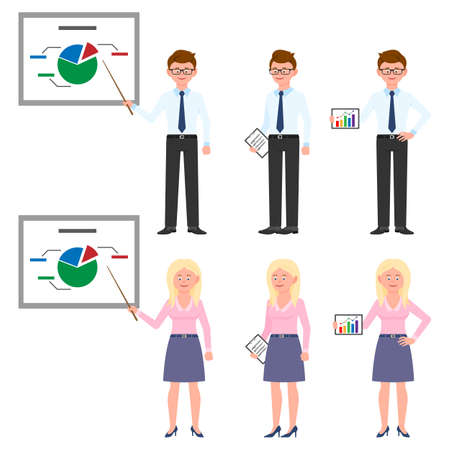 Young, thin office man and woman vector illustration. Standing with pointer, presentation, notes, hands on hips guy and lady cartoon character set on white