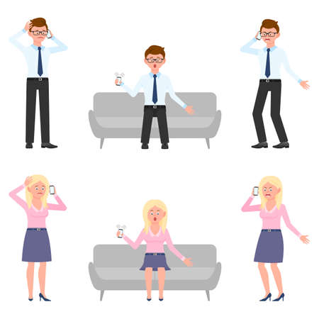 Sad, miserable, surprised, amazed, angry, shouting office man and woman vector illustration. Standing, talking on phone, sitting on sofa, screaming boy and girl cartoon character set on white Vettoriali