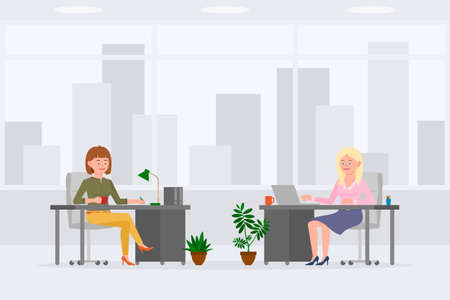 Cute office worker women colleagues vector illustration. Side view writing notes, sitting at desk, typing on computer girl and lady cartoon character set on cityscape background