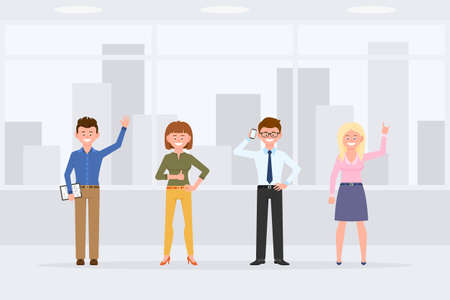 Cartoon character people standing front view in business office interior vector illustration. Men and women coworkers waving, thumbs up, talking on phone, smiling on cityscape background Vettoriali