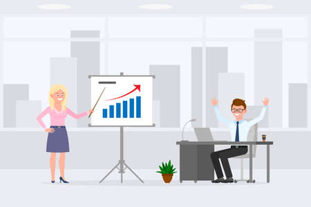 Young, satisfied office boy and girl vector illustration. Standing with pointer at presentation report, sitting happily at desk, hands up, joyful man and woman cartoon character set Vettoriali