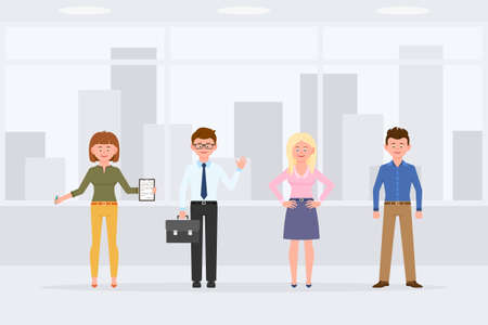 Cartoon character people standing front view in business office interior vector illustration. Men and women coworkers waving, writing notes, hands on hips, smiling on cityscape background Vettoriali