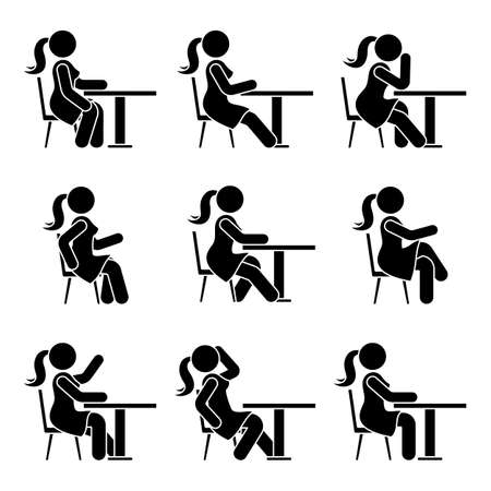 Sitting on chair at desk stick figure woman side view poses pictogram vector icon set. Girl silhouette seated happy, comfy, sad, tired sign on white background Vettoriali