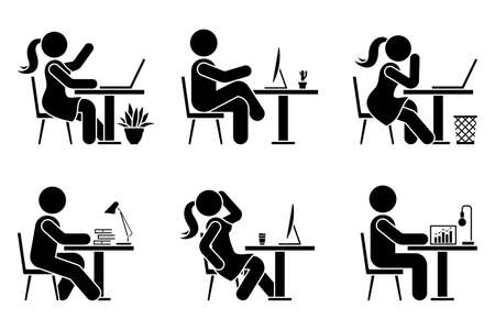 Sitting at desk office stick figure business man and woman side view poses pictogram vector icon set. Male and female silhouette seated on chair, computer, lamp, laptop sign on white background