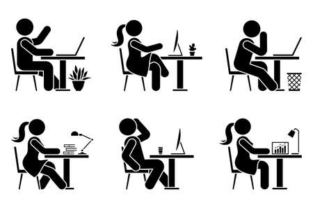 Sitting at desk office stick figure business man and woman side view poses pictogram vector icon set. Male and female silhouette seated at work, with computer, coffee, laptop, table sign on white background
