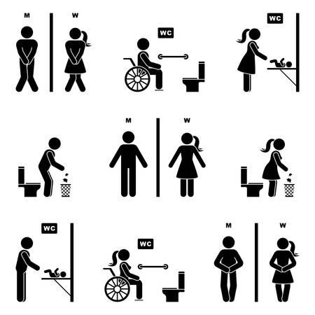 Toilettensymbol Strichmännchen Mann und Frau Symbol Silhouette Piktogramm Vektor-Illustration-Set. Lustiger dringender Pipi, Babywindel-Umkleideraum, Handicap-Deaktivierungspersonenzeichen auf weißem Hintergrund