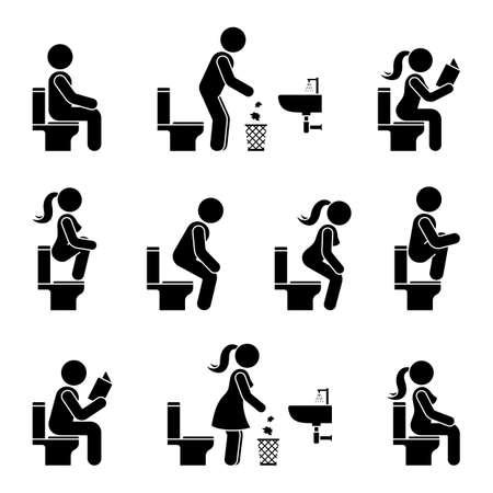 Conjunto de ilustración de vector de pictograma de silueta de símbolo de hombre y mujer de figura de palo de icono de aseo. Sentado, orinar, leer, tirar papel a carteles de basura sobre fondo blanco. Ilustración de vector