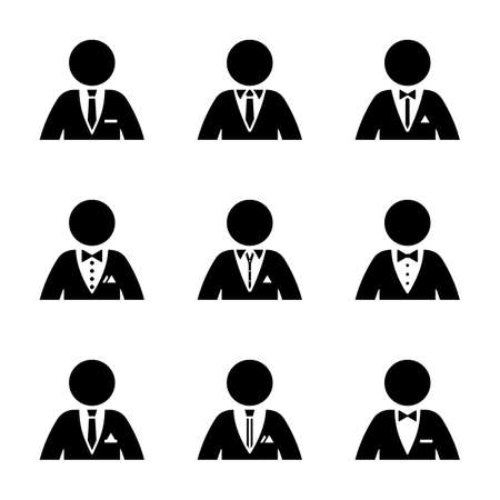 Stick figure dressed in suit, tuxedo, shirt, collar, tie, bow, pocket square pictogram silhouette vector illustration set. Businessman wear formal, official clothes on white background