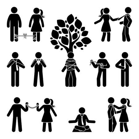 Stick figure tie up, untie, bound, pull, correct, meditate relieve vector silhouette pictogram icon set. Trapped, stressed, arrested stickman on white background