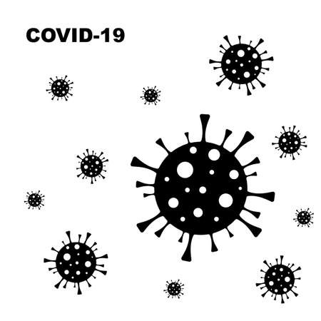 Coronavirus bacteria cell black and white silhouette vector icon pictogram on white background