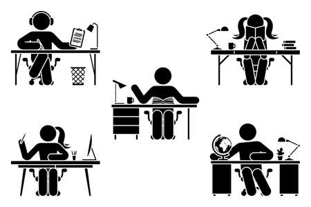 Stick figure man and woman study, learn lesson at school, home office, library vector illustration set. Stickman student hand writing, listen to music, reading, sitting at desk pictogram on white