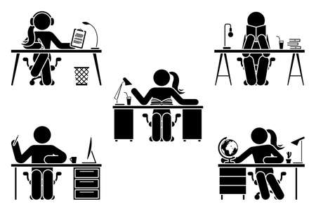 Stick figure male and female study, learn lesson at school, home office, library vector illustration set. Stickman student hand writing, listen to music, reading, sitting at desk pictogram on white