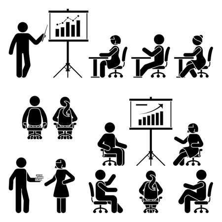 Stick figure man, woman teaching, training, studying workshop, lesson, conference, meeting vector icon set. Male, female, student, employee at office, school, class, course people silhouette on white