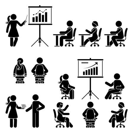 Stick figure male, female teaching, training, studying workshop, lesson, conference, meeting vector icon set. Boy, girl, student, employee at office, school, class, course people silhouette on white