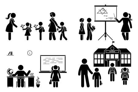 Stick figure teacher, school boy, girl go first day, study, learning knowledge vector icon pictogram. Parents with children, kids walking to preschool, primary, elementary education set on white Vettoriali