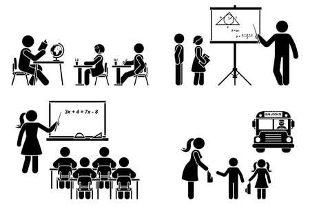 Stick figure teacher, school boy, girl, study, learning black silhouette vector icon pictogram. Lecturer at classroom teaching children primary, elementary preschool, education set on white
