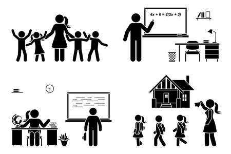 Stick figure teacher with kids, writing on chalkboard, teaching student, sitting at desk vector icon pictogram. First day, back to school, parent and children set on white