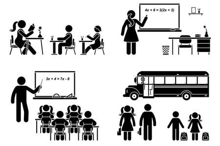 Stick figure school boy, girl sitting in class, lesson, writing, reading, learning vector icon pictogram. Female, male teacher teaching, standing at blackboard set on white