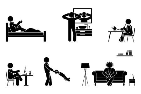 Stick figure man everyday life time activities vector icon set. Sleep, drink coffee, wash face, eat, sit at desk, work, study, play with child, listen to music on couch, use desktop pictogram on white