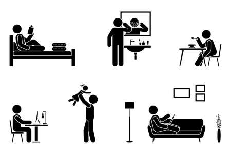 Stick figure man everyday life time activities vector illustration icon set. Read book, shave face, eat, sit at desk, work, study, play with child, use laptop on sofa pictogram on white