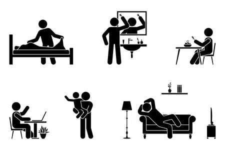 Stick figure man everyday life time activities vector icon set. Making bed, brushing hair, eating, sitting at desk, working, studying, playing with child, resting, relaxing on sofa pictogram on white Vettoriali
