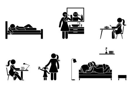 Stick figure woman everyday life time activities vector icon set. Sleep, brush teeth, eat, sit at desk, work, study, play with kid, lay on sofa, listen to music, use laptop pictogram on white