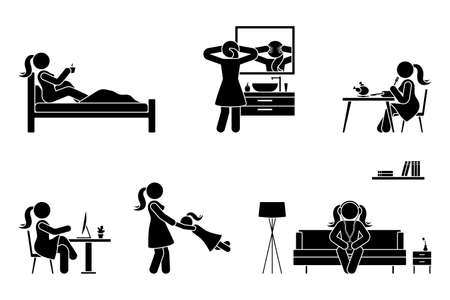 Stick figure woman everyday life time activities vector icon set. Sleep, drink coffee, wash face, eat, sit at desk, work, study, play with child, listen to music on couch, use desktop pictogram on white Vettoriali