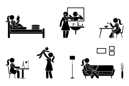 Stick figure woman everyday life time activities vector illustration icon set. Read book, do makeup, eat, sit at desk, work, study, play with child, use laptop on sofa pictogram on white