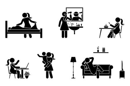 Stick figure woman everyday life time activities vector icon set. Making bed, drying hair, eating, sitting at desk, working, studying, playing with child, resting, relaxing on sofa pictogram on white