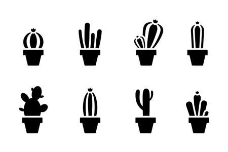 Cactus black and white cut out vector illustration set. Table home flower silhouette icon sign symbol pictogram on white