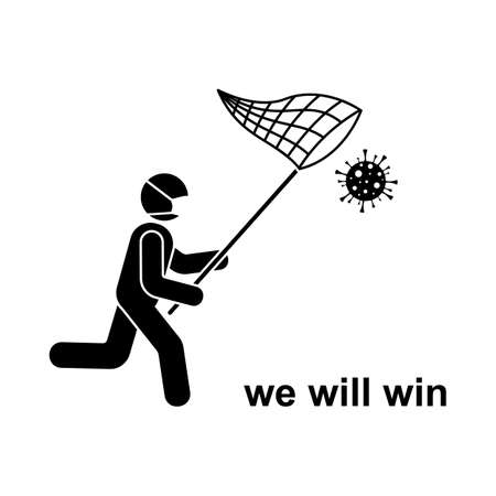 Coronavirus stick figure running man with butterfly net icon sign symbol vector illustration pictogram. Stickman in mask fighting, catching virus, under control, win infection silhouette set on white