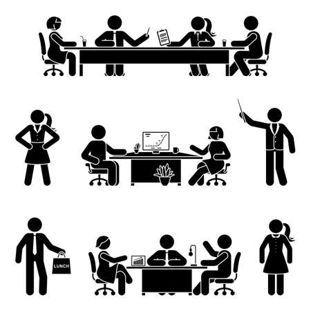 Stick figure office man and woman at business meeting vector icon set. Group of team employees talking, negotiating, discussing, working, sitting at desk, using computer on white Vettoriali