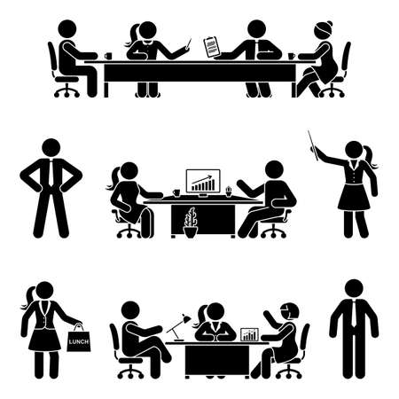 Stick figure office male and female at business meeting vector icon set. Group of team coworkers talking, negotiating, discussing, working, sitting at desk, using computer on white Vettoriali