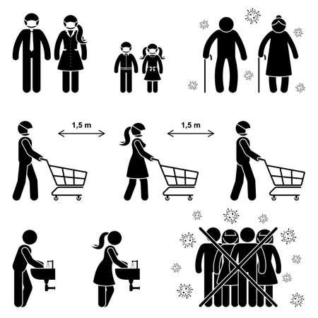 Figure de bâton de coronavirus homme, femme, enfants, enfant, grand-parent icône signe symbole vecteur illustration pictogramme. Règles de distance sociale dans le magasin, se laver les mains, éviter la foule, risque de personnes âgées sur blanc Vecteurs