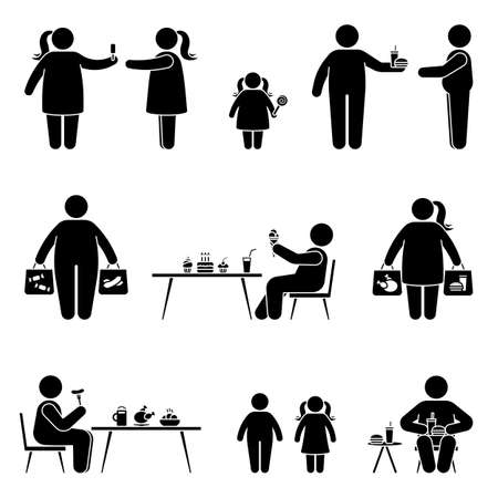 Stick figure eating sweets, fast food, fat meal, shopping, buying unhealthy products vector icon pictogram. Obese man and woman have lunch, dinner, snack silhouette set on white Vettoriali