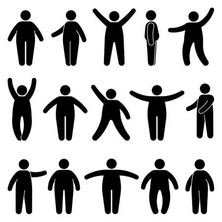 Fat stick figure man standing front, side view in different poses vector icon illustration set. Obese male hands up, waving, pointing, showing silhouette pictogram on white Vettoriali