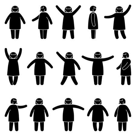 Fat stick figure woman standing front, side view in different poses vector icon illustration set. Obese female hands up, waving, pointing, showing silhouette pictogram on white Vetores