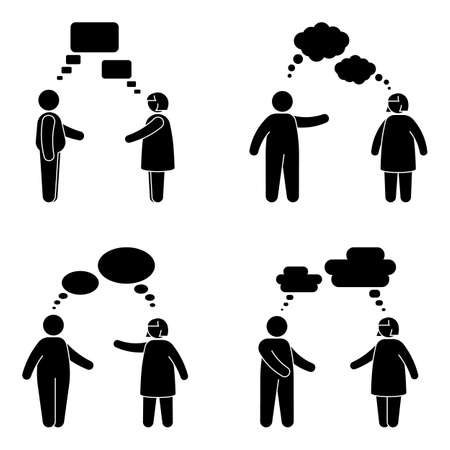 Fat stick figure man and woman speak bubble vector icon pictogram set. Obese male and female talking, listening, discussing with voice, comment, message, dialog cloud silhouette on white