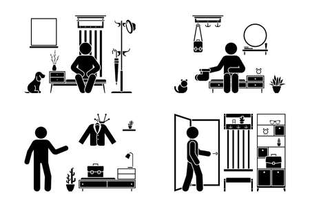 Apartment hallway design vector illustration icon set. Stick figure man in foyer entrance black and white cut out flat style silhouette pictogram on white