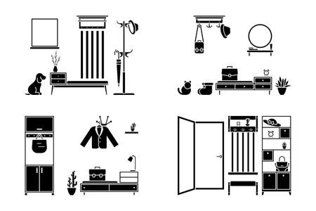 Apartment hallway design vector illustration icon set. Foyer entrance black and white cut out flat style silhouette pictogram on white