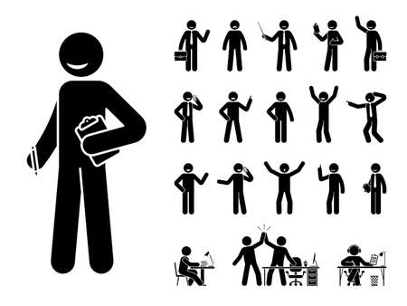 Stick figure business man standing in different poses design vector icon set. Happy, sad, surprised, amazed, angry face. Sitting, celebrating, writing stickman male person on white 일러스트