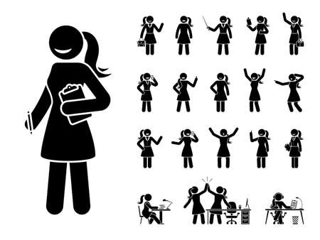 Stick figure business woman standing in different poses design vector icon set. Happy, sad, surprised, amazed, angry face. Sitting, celebrating, writing stickman female person on white
