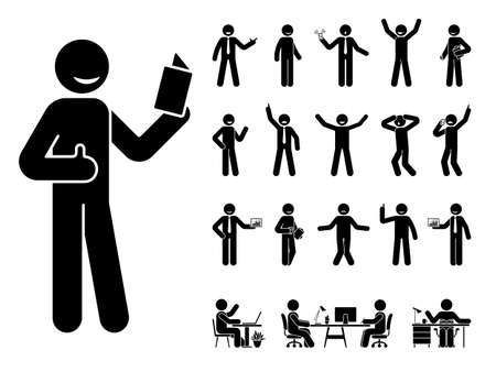 Stick figure man different poses, emotions face design vector icon set. Reading, talking, happy, sad, surprised, amazed, angry, standing, sitting at office stickman person on white 일러스트