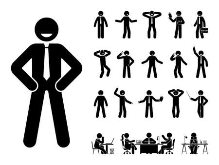 Stick figure office man standing in different poses design vector icon set. Happy, sad, surprised, amazed, angry face. Sitting, meeting, talking, pointing stickman person on white Vettoriali