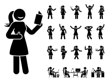 Stick figure woman different poses, emotions face design vector icon set. Reading, talking, happy, sad, surprised, amazed, angry, standing, sitting at office stickman lady person on white