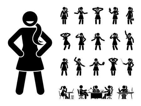 Stick figure office woman standing in different poses design vector icon set. Happy, sad, surprised, amazed, angry face. Sitting, meeting, talking, pointing stickman female person on white