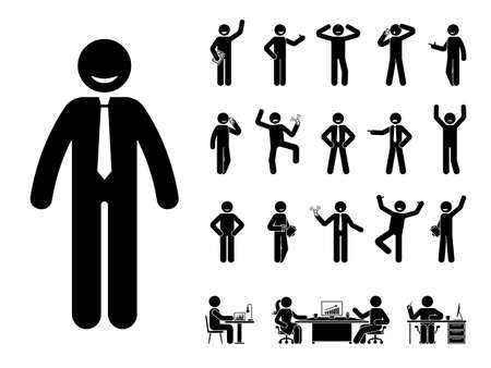 Stick figure office man different poses, emotions face design vector icon set. Happy, sad, surprised, amazed, angry, standing, sitting stickman person on white
