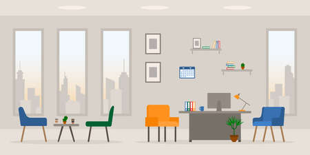 Design of modern empty office working place front, side view vector illustration. Table, desk, chair, computer, desktop, books, plant, lamp, window, coffee table isolated on cityscape background 矢量图像