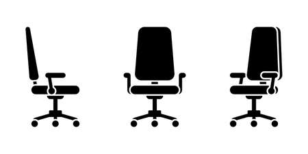 Isolated office chair black and white vector illustration icon pictogram set. Front, side, 3/4 view silhouette on white Stock Illustratie