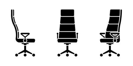 Isolated office chair vector illustration icon pictogram set. Front, side view silhouette on white